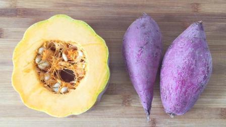 南瓜和紫薯在一起, 很好吃的做法, 香甜软糯, 一次5个吃不够
