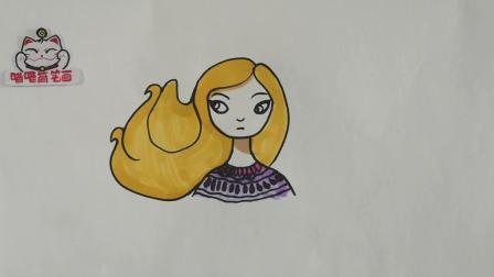 卡通人物简笔画, 长发飘飘的美女
