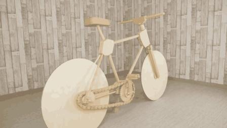 民间牛人发明木头自行车, 纯木头制作, 没有一颗