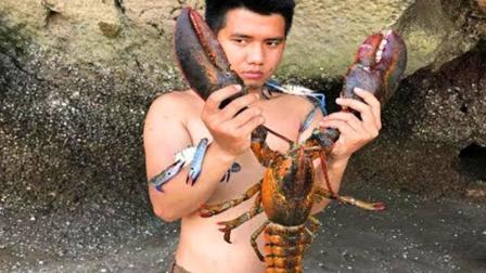 农村小哥海里捕捉到的大龙虾, 你能猜出多少斤吗? 有没有10斤?