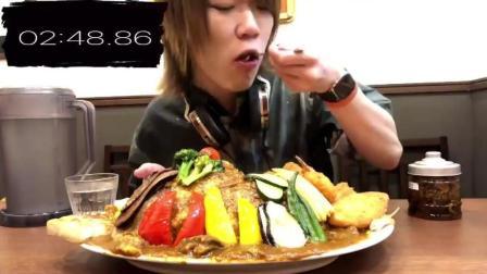大胃王吃播 美食吃货耳机小哥Draco 日本大胃王  10人份的丛林咖喱大挑战