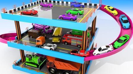 小汽车们车库出发来到多层停车场