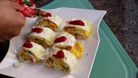 火腿肠鸡蛋卷做法, 4 个鸡蛋一条火腿肠, 做出一道美味营养早餐