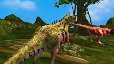 霸王龙被三角龙群殴, 受伤逃跑遇大敌 恐龙动漫特效