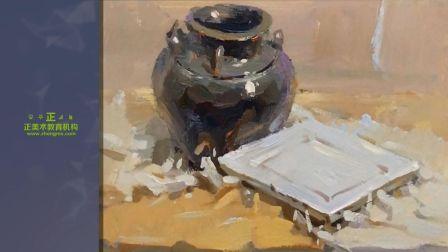 「正美术教育机构」色彩静物-黑色罐子 白盘