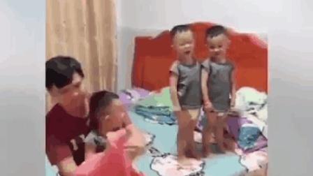 搞笑视频: 生个三胞胎是个什么体验