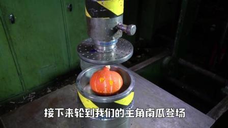 把南瓜放在液压机下, 启动开关, 南瓜会是什么样子的呢?