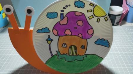 创意小手工, 蛋糕盘巧做小蜗牛, 在家里当摆件特别好看。