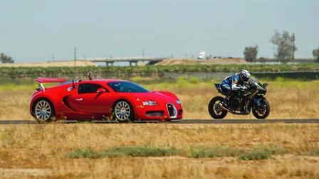 最快跑车和最快摩托到底谁最快? 骑士弯腰那一刻, 胜负已分!