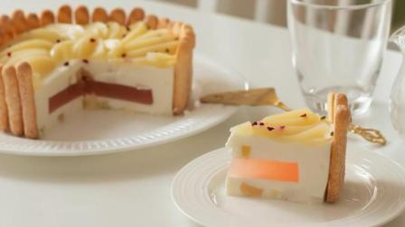 生日蛋糕教程, 白桃饼干蛋糕的制作方法, 里面还可以藏礼物哦!