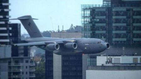 澳大利亚空军飞机特技表演穿行高楼间