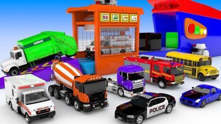 工程车校车巴士汽车玩具来到停车场