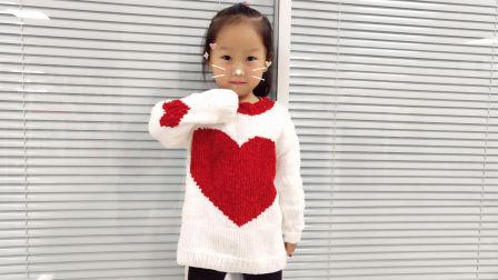 毛儿手作-心心棒针雪尼尔宝宝毛衣编织的方法图解
