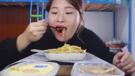 中国胖妞吃播, 看看美女到底吃的什么, 吃相这么