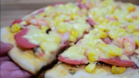 电饼铛做披萨, 未料失足, 不比店里人做的差, 味道也是及其美味