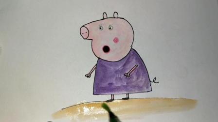 佩奇跟乔治在菜园摘了很多蔬菜, 到家后猪奶奶叫他们把菜洗干净