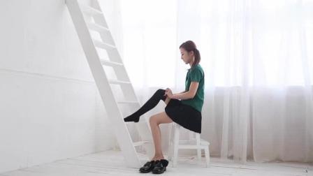 清纯妹妹50秒教你穿过膝长筒丝袜, 美腿又显形