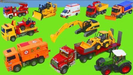 消防车, 挖掘机, 自卸卡车, 拖拉机和推土机 布鲁德建筑玩具车