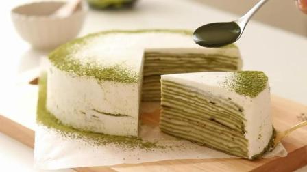 DIY美食教程, 抹茶千层蛋糕的制作方法, 难度3颗星!
