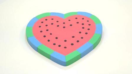 亲子益智太空沙制作心形西瓜蛋糕