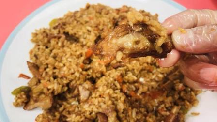 正宗新疆羊肉手抓饭, 米粒油亮金黄, 百吃不厌