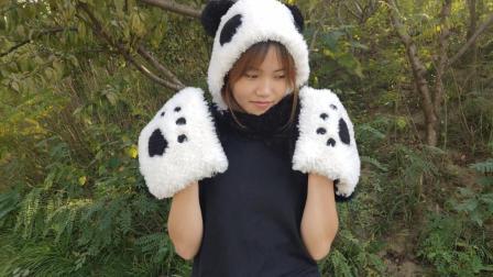 毛儿手作熊猫围巾第二部分棒针编织新手连帽围巾编织款式