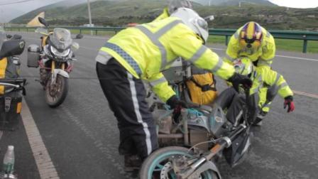 因路况太差女骑士体力透支原地倒车, 这才是最真实的摩托车进藏旅行!