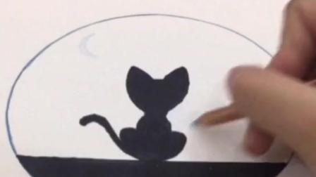 #彩铅星空##手绘星空画#彩铅星空猫咪画 不是原创 百度上有