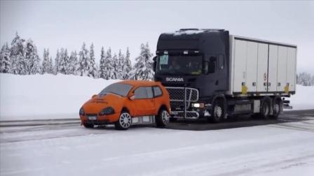 看看大卡车的自动刹车系统有多厉害