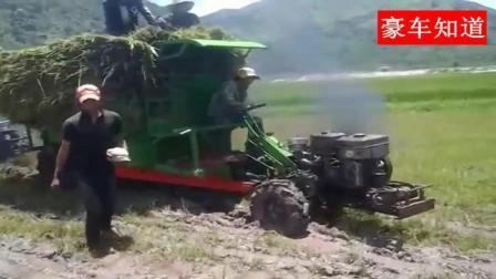 没想到手扶拖拉机走这泥巴路这么强, 歪歪扭扭的就过去了