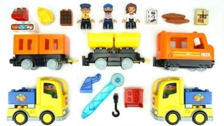 积木玩具组装工程车和小火车轨道玩具