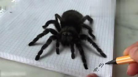 牛人画一只蜘蛛, 把小女孩给吓到了!