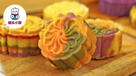 免烤彩色绿豆月饼, 美得简直不忍心下口
