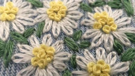 好玩的手工刺绣教程, 绣满小雏菊的心形图案