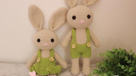 棉柔朵朵编织小屋  情侣兔玩偶编织视频教程上集
