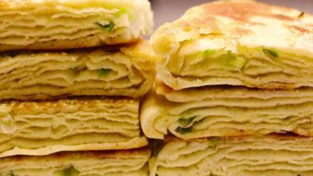 最好的早餐面食, 教你千层葱花饼做法, 看了就会, 给肉夹馍都不换