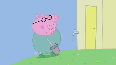 猪爸爸高兴地提着水桶去水龙头打水