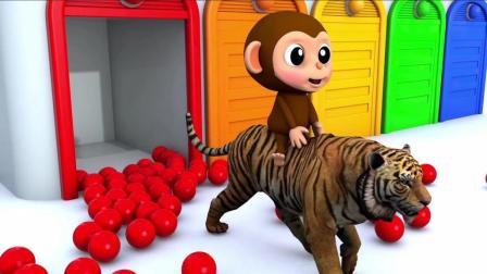 宝宝学颜色认识动物, 猴宝宝骑着各种小动物玩耍, 亲子早教