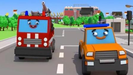 汽车城的工程车动漫 拖车汤姆急刹车车轮飞上树顶 消防车用云梯帮忙