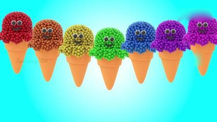 亲子早教动画 3D彩色足球堆积成可爱的冰淇淋学习颜色