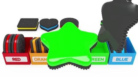 亲子早教动画 3D彩色夹心饼干按分类放入盒子中趣味学习