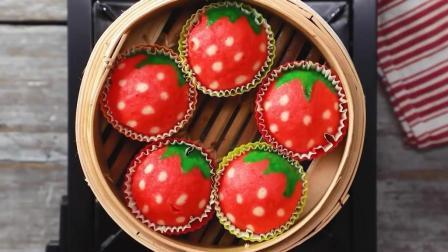 """不用烤箱, 一分钟就学会, 用蒸锅做出""""草莓蛋糕"""", 宝宝吃不够!"""