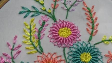 绣花小技巧, 网针刺绣花朵图案07的方法(步骤2-2)