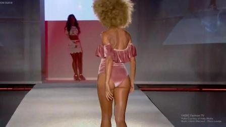 2019哥伦比亚时装周Baes and Bikinis泳装秀, 金发超模留下一个耐人寻味的背影!