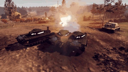 英雄连: 突击虎发神威, 一炮打掉2辆爆破坦克, 果然口径就是威力