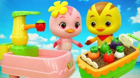 萌鸡朵朵收菜煮饭模拟菜园儿童玩具故事