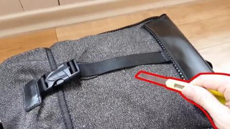 高科技面料做成的背包, 能把刀崩断, 还怕小偷割包吗?