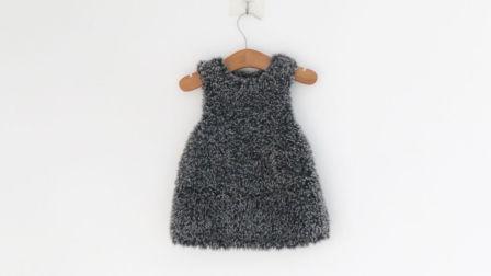 毛儿手作-【裘皮绒小裙子】棒针女童裙子新手视频编织图案