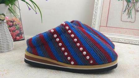 【手工织品】民族风珠绣上集毛线鞋编织视频教程珠绣款上集