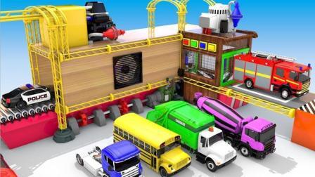 工程车小汽车玩具来到港口